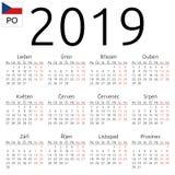 Kalendarz 2019, czech, Poniedziałek Zdjęcia Stock