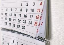 kalendarz datuje miesiąc Zdjęcia Stock