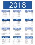 Kalendarz dla 2018 Zdjęcie Royalty Free