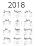 Kalendarz dla 2018 Zdjęcia Stock