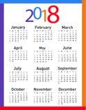 Kalendarz dla 2018 Obrazy Stock
