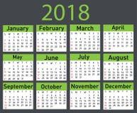 Kalendarz dla 2018 Zdjęcie Stock