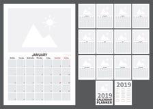 Kalendarz dla 2019 ilustracji