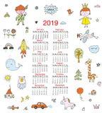 Kalendarz dla dzieci z śmiesznymi doodles, dzieciaki, zwierzęta, śliczni elementy również zwrócić corel ilustracji wektora ilustracja wektor