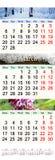 Kalendarz dla Luty Marzec i Kwietnia 2017 z obrazkami natura Obrazy Royalty Free