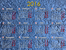 Kalendarz dla 2016 na błękitnym tle Zdjęcia Stock