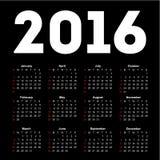 Kalendarz dla 2016 na czarnym tle Obraz Royalty Free