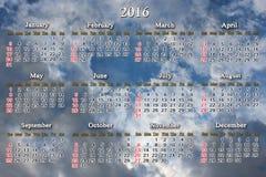 Kalendarz dla 2016 na tle niebieskie niebo Obrazy Royalty Free