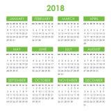 Kalendarz dla 2018 rok Zdjęcia Royalty Free