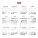 Kalendarz dla 2018 rok Fotografia Stock