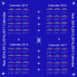 Kalendarz dla 2014,2015,2016,2017 rok Zdjęcie Stock