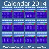 Kalendarz dla 2014 rok Zdjęcie Royalty Free