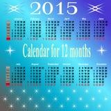 Kalendarz dla 2015 rok. Fotografia Royalty Free