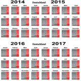 Kalendarz dla 2014 2015 2016 2017 rok Fotografia Royalty Free
