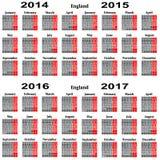 Kalendarz dla 2014,2015,2016,2017 rok. Fotografia Royalty Free