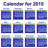 Kalendarz dla 2015 rok. Obraz Stock