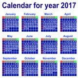 Kalendarz dla 2017 rok. Fotografia Royalty Free