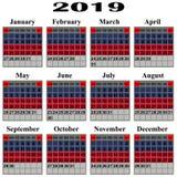 Kalendarz dla 2019 rok Obrazy Stock