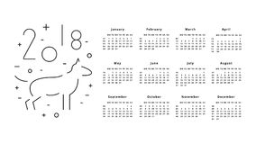 Kalendarz dla 2018 rok Zdjęcia Stock