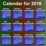 Kalendarz dla 2018 rok Anglia. Zdjęcie Stock