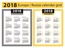 Kalendarz dla 2018 rok Europejskie i Rosyjskie siatki kolumny 3 royalty ilustracja