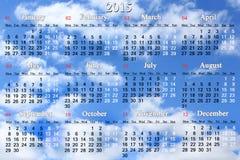 Kalendarz dla 2015 rok na chmury tle Zdjęcie Royalty Free