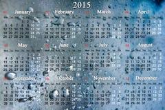 Kalendarz dla 2015 rok na wodnych kroplach Fotografia Stock