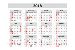 Kalendarz dla 2018 rok Wektorowy projekta druku szablon Na Niedziela tydzień początek Set 12 miesiąca royalty ilustracja