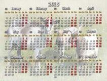 Kalendarz dla 2015 rok z kózkami Zdjęcie Stock