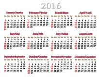 Kalendarz dla 2016 w Angielskim i Francuskim Obraz Royalty Free