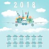Kalendarz dla 2018 z sławnymi światowymi punktami zwrotnymi Tydzień Zaczyna Niedziela wektor Fotografia Royalty Free