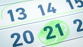 Kalendarz, dwadzieścia jeden, dwadzieścia, fifteenth liczba, zielone markier główne atrakcje obraz stock