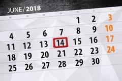 Kalendarz, dzień, miesiąc, biznes, pojęcie, dzienniczek, ostateczny termin, planista, stanu wakacje, stół, kolor ilustracja, 2018 Fotografia Stock