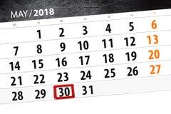 Kalendarz, dzień, miesiąc, biznes, pojęcie, dzienniczek, ostateczny termin, planista, stanu wakacje, stół, kolor ilustracja, 2018 Obraz Royalty Free