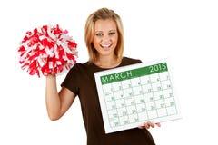 2015 kalendarz: Exctied Dla wiosny Marzec sportów Obraz Stock