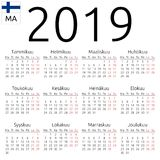 Kalendarz 2019, Fiński, Poniedziałek Zdjęcia Royalty Free