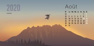 2020 kalendarz gotowy drukować w Francuskiej wersji, pokazuje zmierzchy na halnych krajobrazach ilustracja wektor