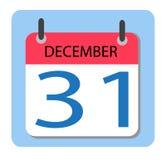 Kalendarz 31 Grudzień nowy rok, ilustracja wektor