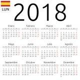 Kalendarz 2018, hiszpańszczyzny, Poniedziałek Obraz Royalty Free