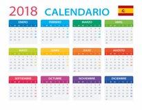 Kalendarz 2018 - Hiszpańska wersja Obrazy Stock