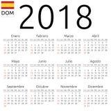 Kalendarz 2018, hiszpańszczyzny, Niedziela Obraz Stock