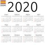 Kalendarz 2020, hiszpańszczyzny, Niedziela obraz stock