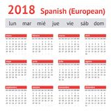 Kalendarz 2018 Hiszpania Europejski hiszpańszczyzna kalendarz Obraz Royalty Free