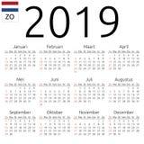 Kalendarz 2019, holender, Niedziela Fotografia Stock