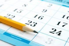 Kalendarz i penci Obraz Stock