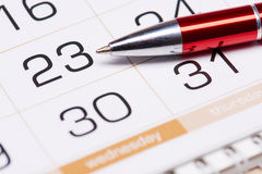 Kalendarz i pióro Zdjęcie Stock