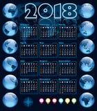 Kalendarz 2018 i Ziemskie kule ziemskie Obraz Royalty Free