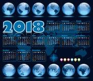 Kalendarz 2018 i Ziemskie kule ziemskie Zdjęcia Royalty Free