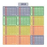 Kalendarz 2018 kolorowy Zdjęcie Stock