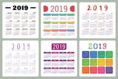 Kalendarz 2019 Kolorowy set Na Niedziela tydzień początek Podstawowa siatka Ilustracji